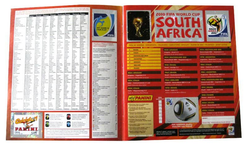 Panini Checkliste WM 2010 Intro Sticker eingeklebt