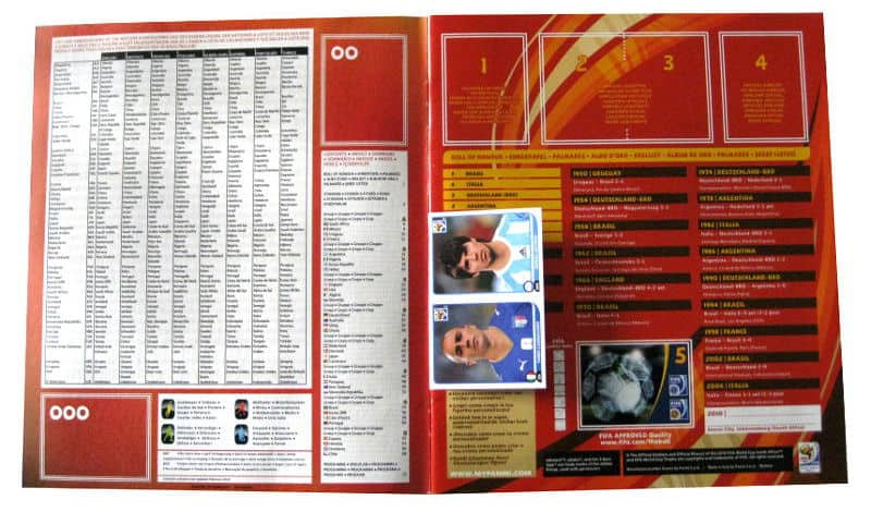 Panini Checkliste WM 2010 Intro ohne Sticker