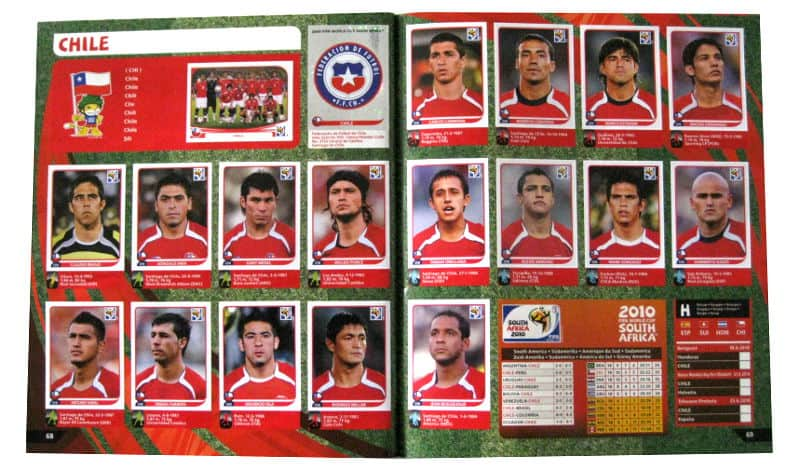 Panini Checkliste WM 2010 Chile Sticker eingeklebt