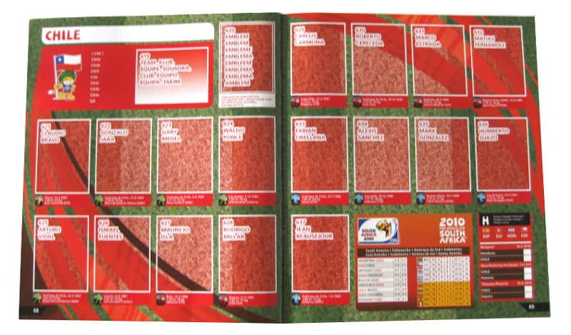 Panini Checkliste WM 2010 Chile ohne Sticker