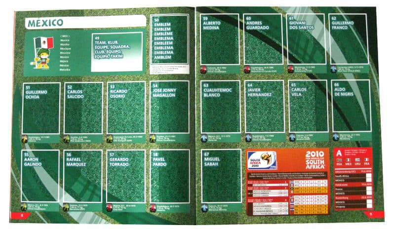 Panini Checkliste WM 2010 Mexiko ohne Sticker