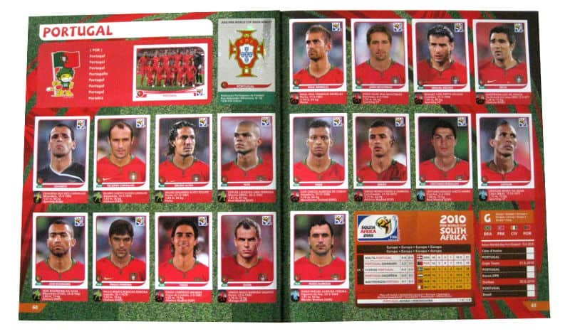 Panini Checkliste WM 2010 Portugal Sticker eingeklebt