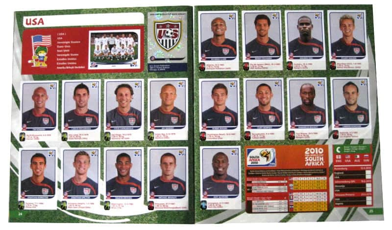 Panini Checkliste WM 2010 USA Sticker eingeklebt