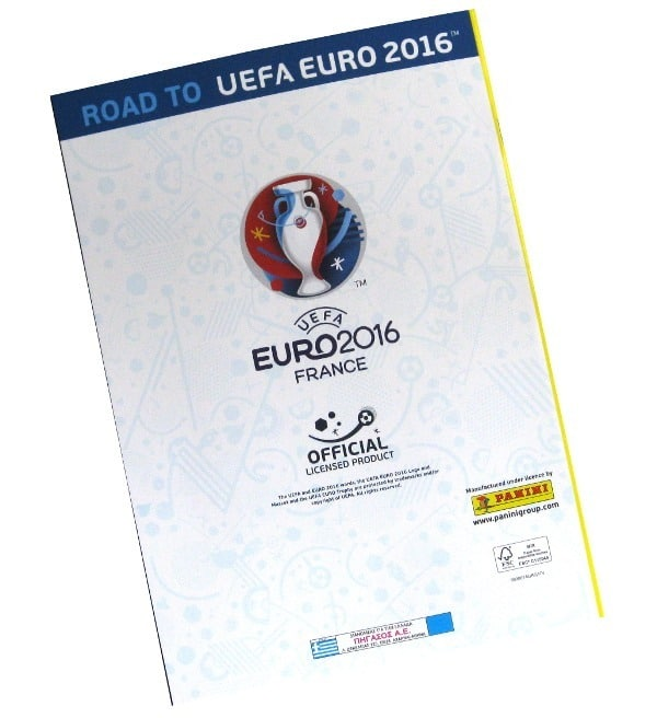 Panini Road to Euro 2016 Sticker Album Rückseite