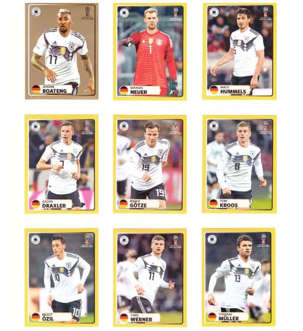 Panini WM 2018 McDonalds Sticker M1 bis M9