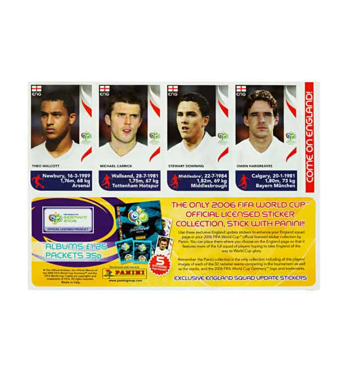 Panini WM 2006 Update Sticker England vorne