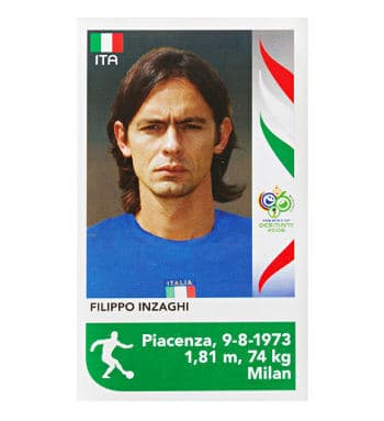 Panini WM 2006 Update Sticker Filippo Inzaghi vorne