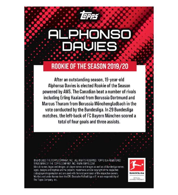 Topps Rookie of the Season 2019/20 Alphonso Davies Autogramm/Memorabilia Card