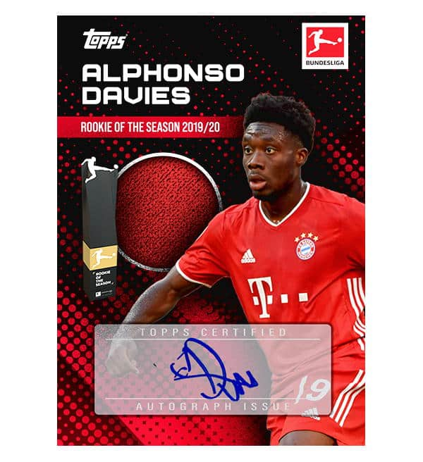 Topps Alphonso Davies Rookie of the Season 2019/20 Autogramm/Memorabilia Card